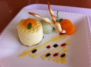 浜名湖の3つの恵み〜みかんブリュレinハチミツムース&青のりアイス〜