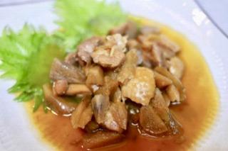 但馬どりとやわらかごぼうの生姜醤油煮