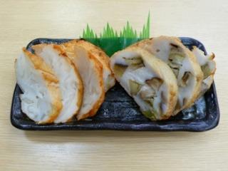 「玉葱の天ぷら」と「水なすの天ぷら」